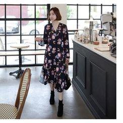 Miamasvin - V-Neck Flower Patterned Long Shirtdress