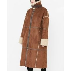 Someday, if - Funnel-Neck Faux-Shearling Long Coat