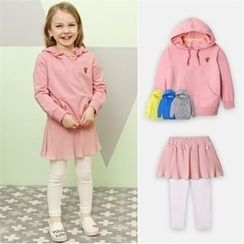 WALTON kids - Girls Set: Hooded Pullover + Inset Pleated Skirt Leggings