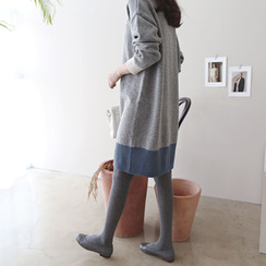 DAILY LOOK - Contrast-Trim Wool Blend Knit Dress