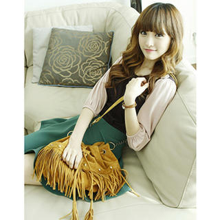 Dodostyle - Faux Suede Fringed Shoulder Bag