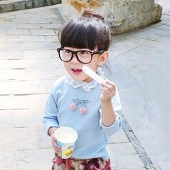 CUBS - 儿童樱桃贴布蕾丝边长袖T裇