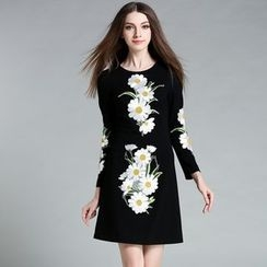 Cherry Dress - Long-Sleeve Embroidered Dress