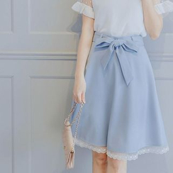 Tokyo Fashion - Bow Waist A-Line Skirt