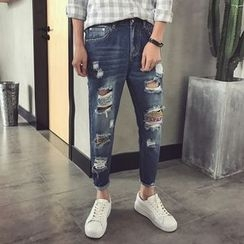 Soulcity - Ripped Patchwork Tapered Jeans