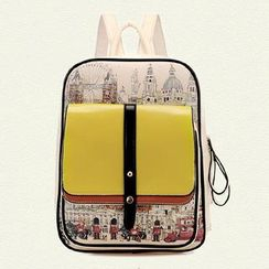 BeiBaoBao - Faux-Leather Printed Panel Backpack
