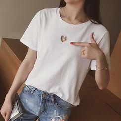 小谷粒 - 仿珍珠心心鏤空短袖純色T恤
