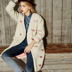 ELF SACK - Embroidered Fleece Long Button Coat