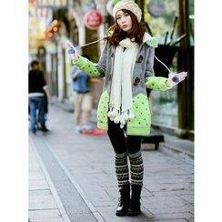 Dollisee - Color Block Hooded Long Jacket