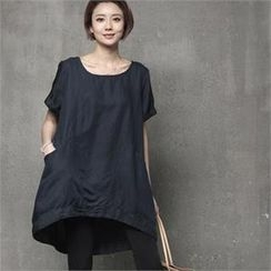 HALUMAYBE - Short-Sleeve Dip-Back Linen Blend Top