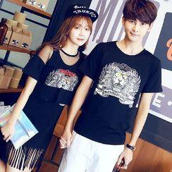 Tabula Rasa - Couple Matching Print Short-Sleeve T-shirt / Mesh Panel Fringed T-shirt Dress