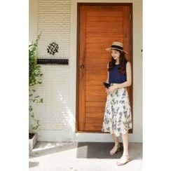 CHERRYKOKO - Floral Chiffon Midi Flare Skirt