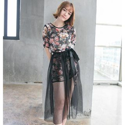 Hamoon - Set: Short-Sleeve Floral-Print Long Top + Pleated Long Skirt