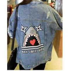 Sienne - Distressed Shark Print Denim Jacket