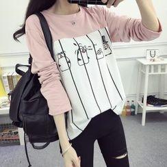 Carabecca - Penguin Print Striped Long Sleeve T-Shirt