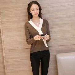 Aigan - V-Neck Contrast Trim Sweater