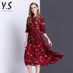 Y:Q - Elbow-Sleeve Floral Print Pleated A-Line Dress