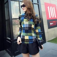 Poet Collar - Bow Accent Check Chiffon Blouse