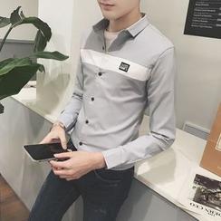Besto - 拼色贴布绣衬衫