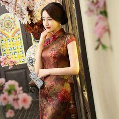 Janelle Qipao - Floral Print Midi Cheongsam