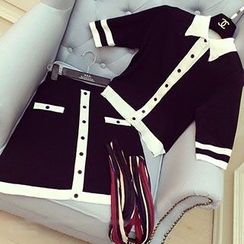 Honeydew - Set: Contrast Collared Cardigan + Skirt