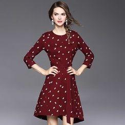 Ozipan - 3/4-Sleeve Printed Dress