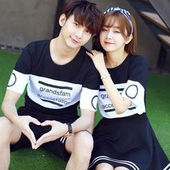 JORZ - Couple Matching Set: Colour Block Letter Short-Sleeve T-shirt + Shorts / Skirt