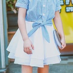 Lemony dudu - Kids Ruffle A-line Skirt