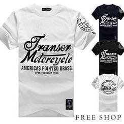Free Shop - Short-Sleeve Lettering T-Shirt