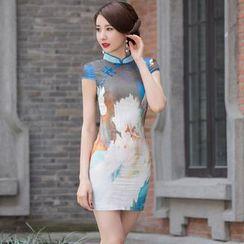 Miss Four Qipao - Print Cap-Sleeve Chiffon Qipao