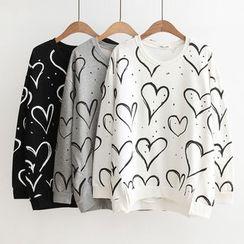 Suzette - Heart Print Pullover