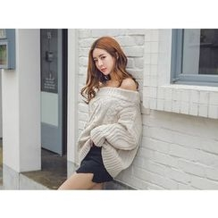 UUZONE - Off-Shoulder Cable-Knit Sweater