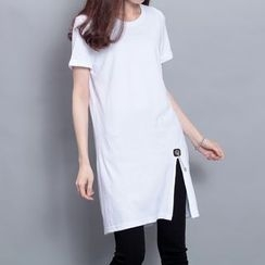 Sonne - Slit-Front Chain-Accent Long T-Shirt
