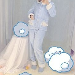 Rega - Pajama Set: Sheep Applique Shirt + Pants