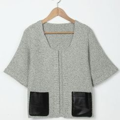 FR - Faux Leather Pocket Cardigan