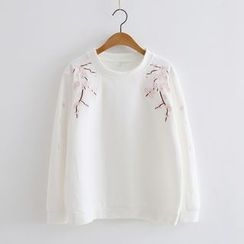 Piko - Embroidered Floral Sweatshirt