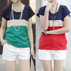 Munhome - Short-Sleeve Color Block Chiffon Top