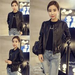 Glen Glam - Faux Leather Zip Jacket