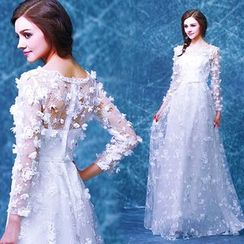 Angel Bridal - Long-Sleeve Flower Tulle Evening Dress