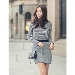 GUMZZI - Set: Stripe Knit Top + Skirt