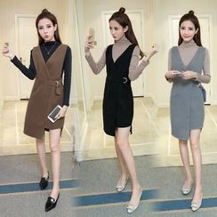 Sienne - Set: Buckled Long-Sleeve T-Shirt + Buckled Pinafore Dress