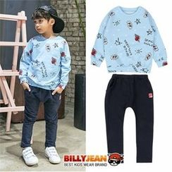 BILLY JEAN - Kids Set: Printed Top + Banded-Waist Pants