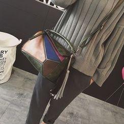 Rosanna Bags - Color Panel Tasseled Crossbody Bag