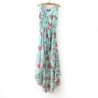 Flower Idea - Sleeveless Flower-Print Maxi Dress