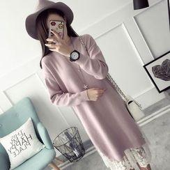Qimi - Long-Sleeve Lace Hem Knit Midi Dress