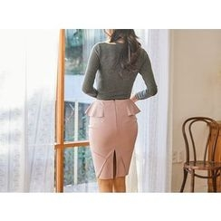 UUZONE - Faux-Leather Flap Skirt