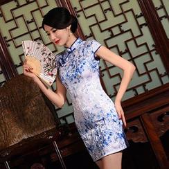 Montebelle - Floral Print Cap-Sleeve Cheongsam