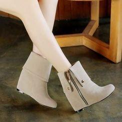 Pretty in Boots - Hidden Wedge Velvet Short Boots