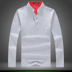 Alvicio - Open Placket Long Sleeve T-Shirt