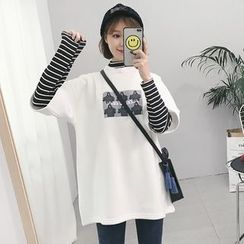Tiny Times - Printed Mock Two-Piece Long-Sleeve T-Shirt
